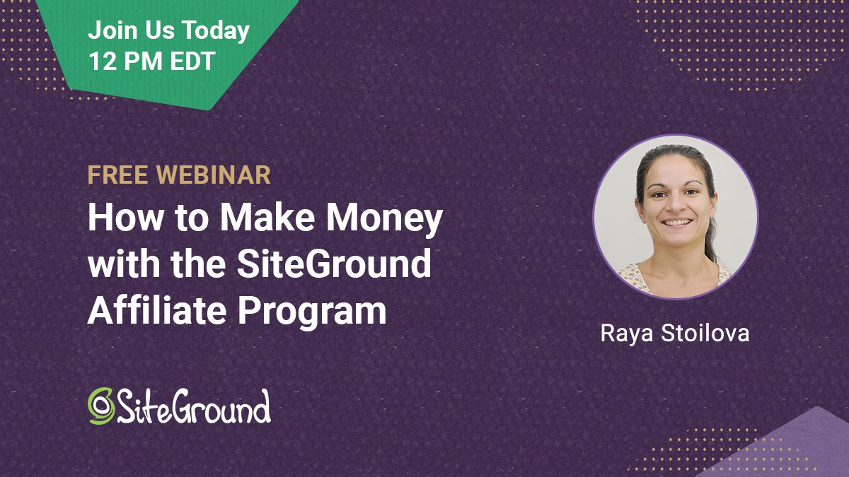 Our free webinar 'How to Make Money with the SiteGround Affiliate Program' is today! If you still haven't registered for it, go to https://t.co/tI3mPm4J2l and save your spot. We are looking forward to seeing you there at 12 PM EDT! https://t.co/ndULAT6WXn