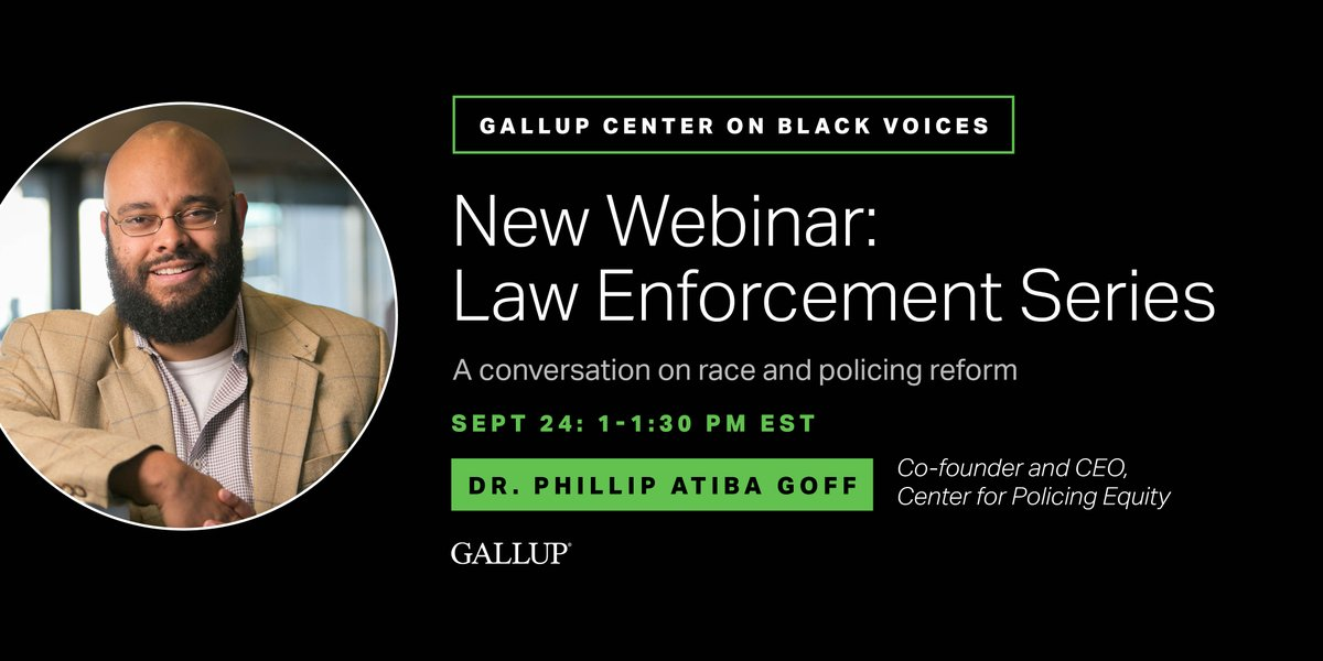 We're excited for @DrPhilGoff to join our upcoming webinar. Dr. Goff is the Co-founder and CEO of the Center for Policing Equity and a Professor at Yale University. Register now to hear this important conversation. https://t.co/fQUYgZxLuW https://t.co/SrF7oRTK6E