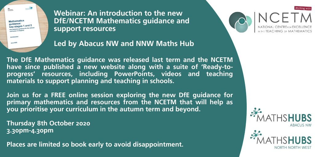 RT @Abacus_NW Join us and @NNWMathsHub for a free online session exploring the new DfE/NCETM Mathematics guidance and support resources.  Thursday 8th October 3.30pm-4.30pm  Link to book ⬇️  https://t.co/tS385dqIgR