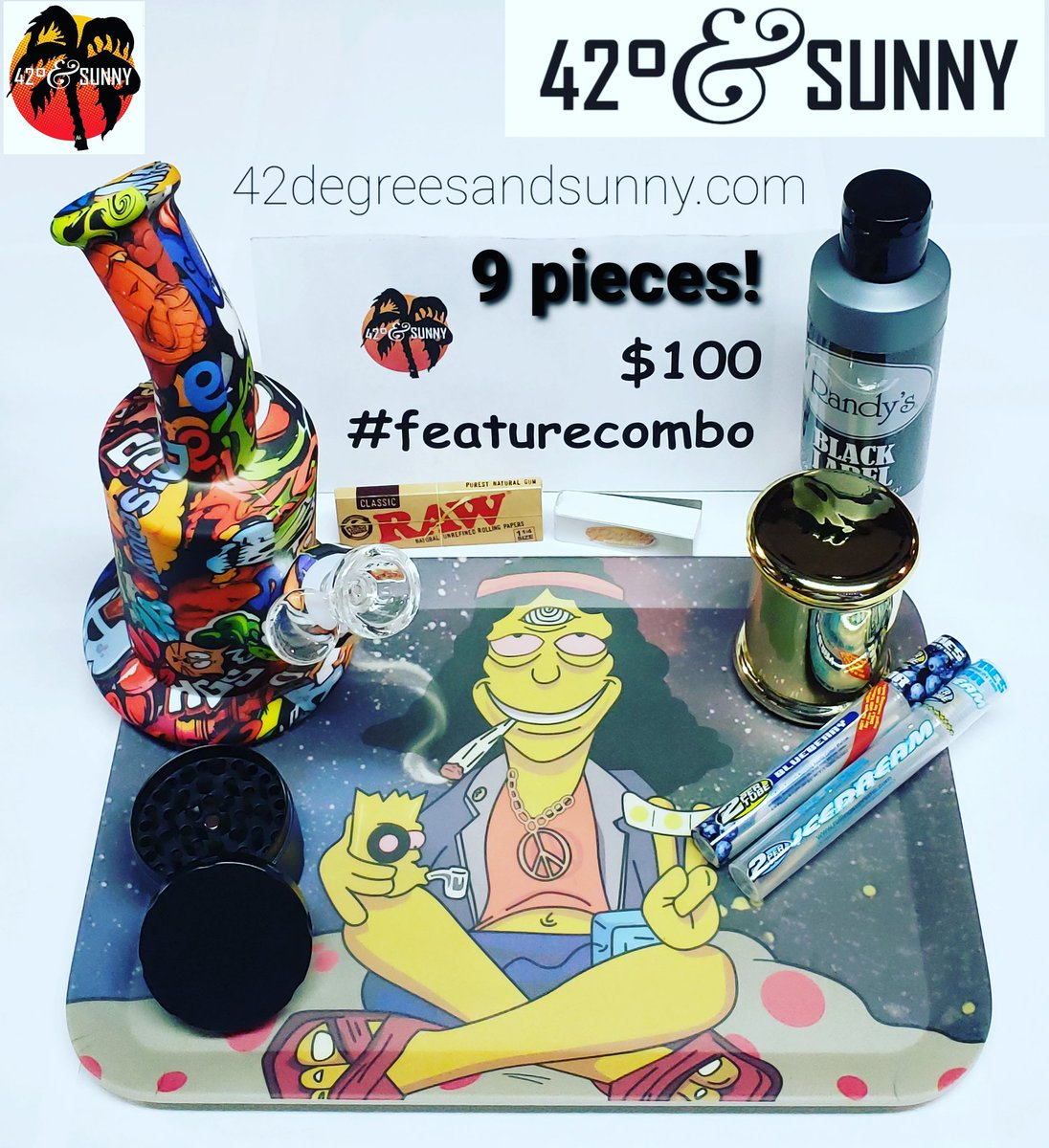Check out the newest #featurecombo! 9 pieces for $100! #silicone #waterpipe #randysblacklabel #biodegradable #rollingtray #grinder #smellproofjar #rawrollingpapers #filtertips #clearcones #smokingdeals on #smokingaccessories #headshop #headshoplife #420andsunny #42degreesandsunny https://t.co/bFhBGCnLyg