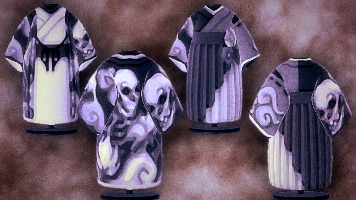 髑髏の着物です  ᐕ)⁾⁾☪︎*。꙳魍魎の着物☪︎.°モノクロ骸骨(髑髏)男用 女用あります(๑´ω`ノノ゙✧#あつ森 #あつまれどうぶつの森 #ACNHDesign #マイデザイン #マイデザイン配布