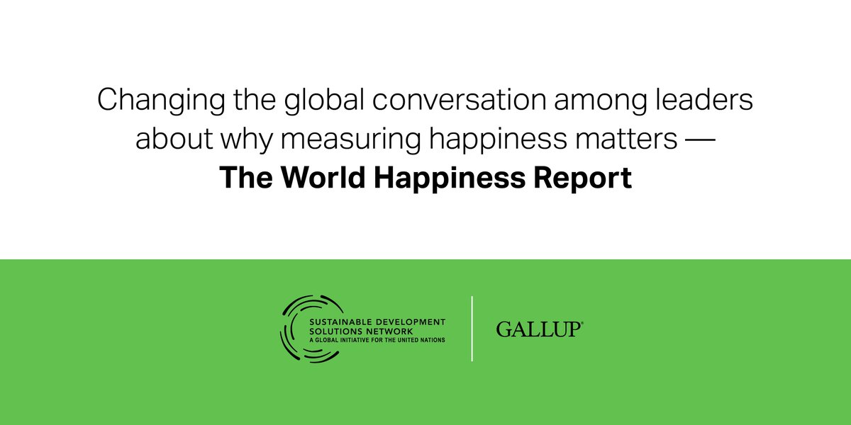 Each year, Gallup partners with the Sustainable Development Solutions Network, an initiative of the United Nations, to produce the World Happiness Report. https://t.co/sClGqQO7AL https://t.co/M871IDRVYb