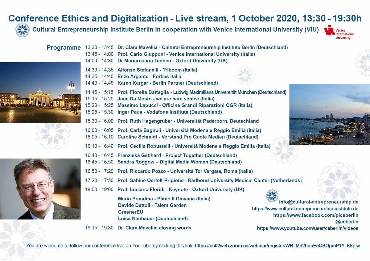 RT @ceberlin: Conference #Ethics and #Digitalization, 1 October 2020, 13:30-19:30h - You are welcome to follow our conference live on YouTube by clicking this link: https://t.co/JNQ2xSfhvD    https://t.co/moTACJk8I9 @oiioxford @oxfordethicslab https://t.co/tsSe6Wk2ZV