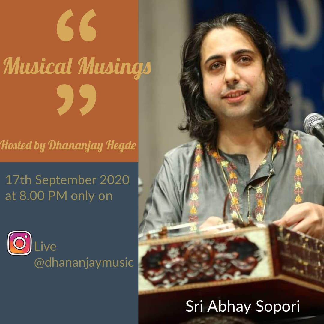 Coming Live on Instagram - tonight, Thursday, 17th September 2020 at 8:00 pm at 'Musical Musings'.  See you 😊 #abhaysopori #SOPORI #abhayrustumsopori #santoor https://t.co/rWYRmbnQ9a