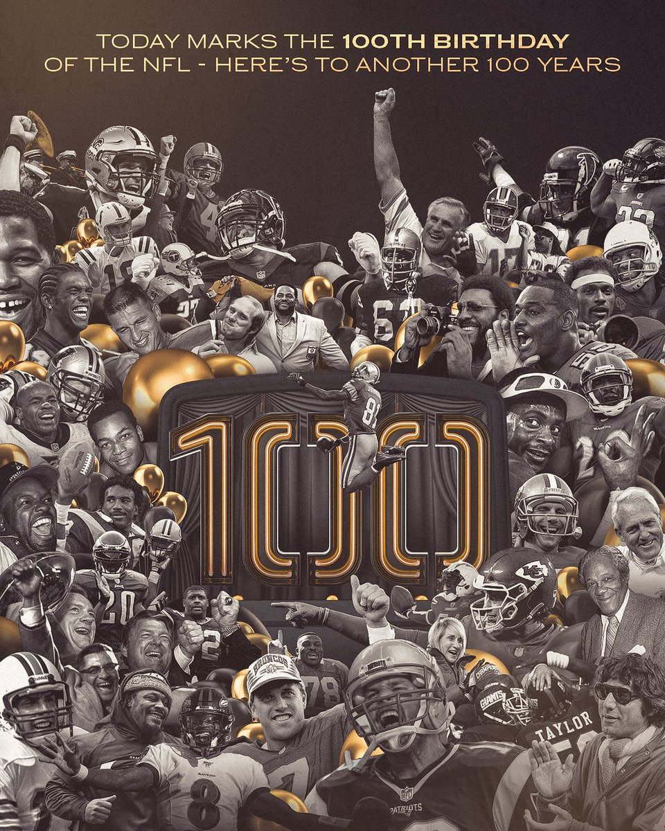 100 years ago today, the NFL was founded on September 17, 1920.  Join us in celebrating the NFL's 100th birthday! https://t.co/yeWU1ymKed