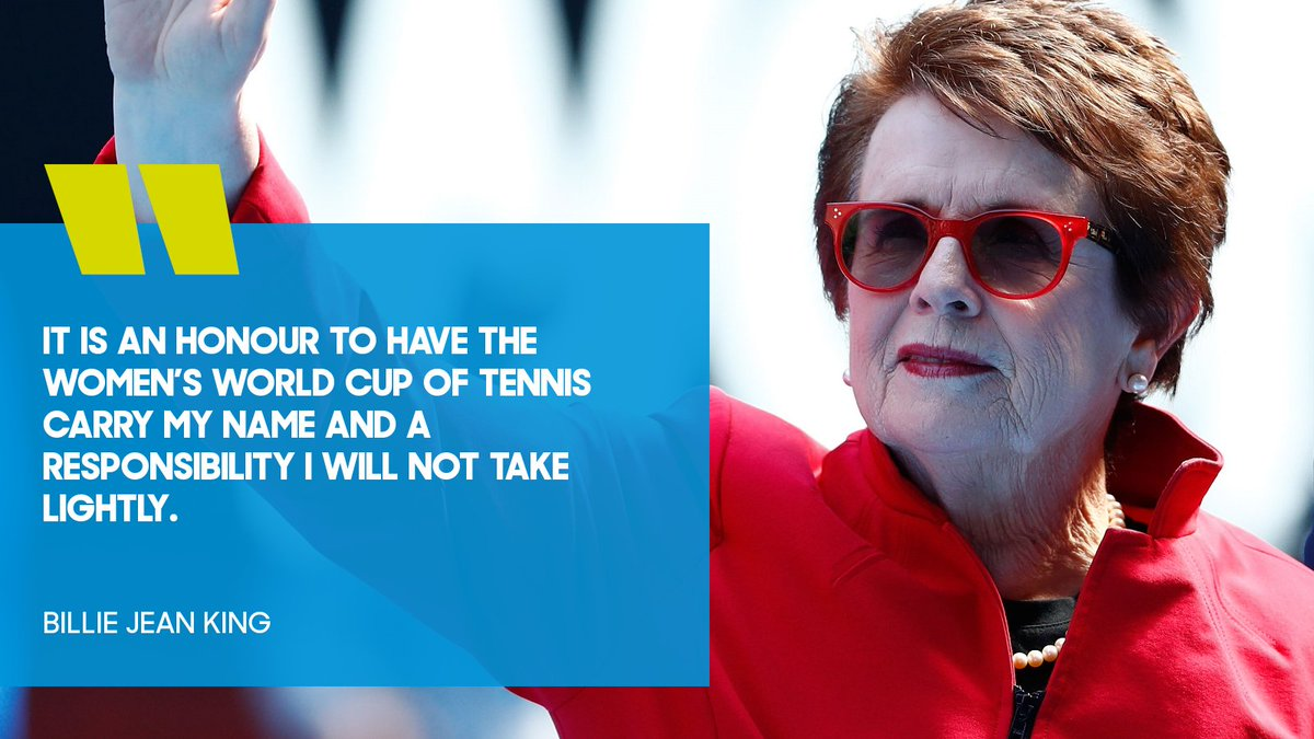 The Fed Cup is now the #BillieJeanKingCup 🏆  Congratulations from down under, @BillieJeanKing 👏 🇦🇺 https://t.co/wGR70T1fG1