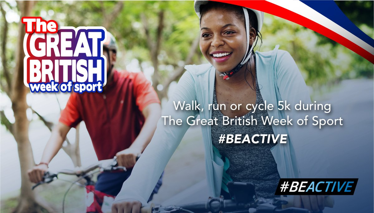 The Great British Week of Sport - 19th - 27th September. Set yourself a challenge - Walk, Run or Cycle 5km. Great British Week of Sport  #Beactive #Sport #Activity #Fitness #University #students #healthy #activecampus https://t.co/KHRyO1V6fZ