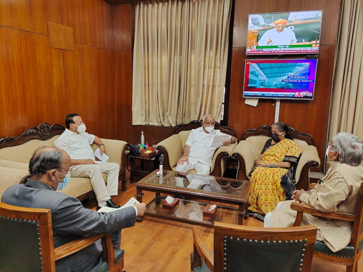 Shri @DVSadanandGowda, Honble Minister for Chemicals & Fertilizers, Shri @BSYBJP, Honble Chief Minister of Karnataka, and Shri @GovindKarjol, Honble Deputy Chief Minister of Karnataka, call on Smt @nsitharaman