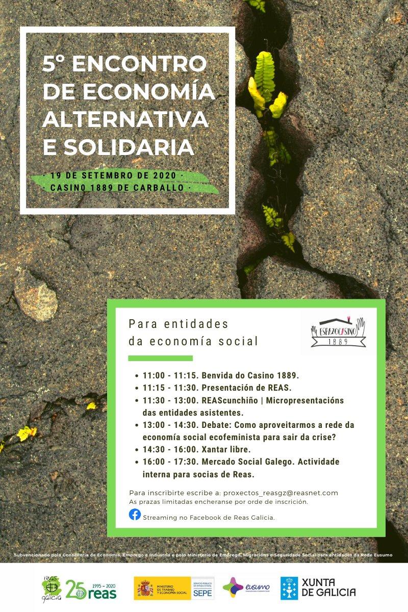 V ENCONTRO DE ECONOMÍA ALTERNATIVA E SOLIDARIA | Organiza @REAS_Galicia | 📅 19 setembro | 📍 Casino 1889 Últimos días!! 👇👇👇👇 https://t.co/hCAEj7DwSP https://t.co/URFwbBwtVf