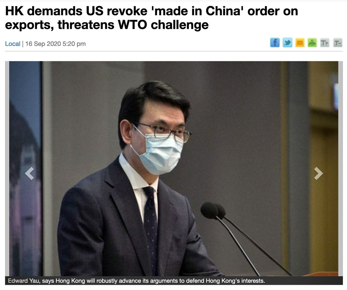 """1. #HKgov now demands #US to drop the new label ban and stresses its products are not made in China. One local exporter told @appledaily_hk, slamming HKgov for being hypocritical since it previously arrested now-disbanded Demosisto members for selling """"not-made-in-China"""" masks. https://t.co/fy9c4s9Tkf"""