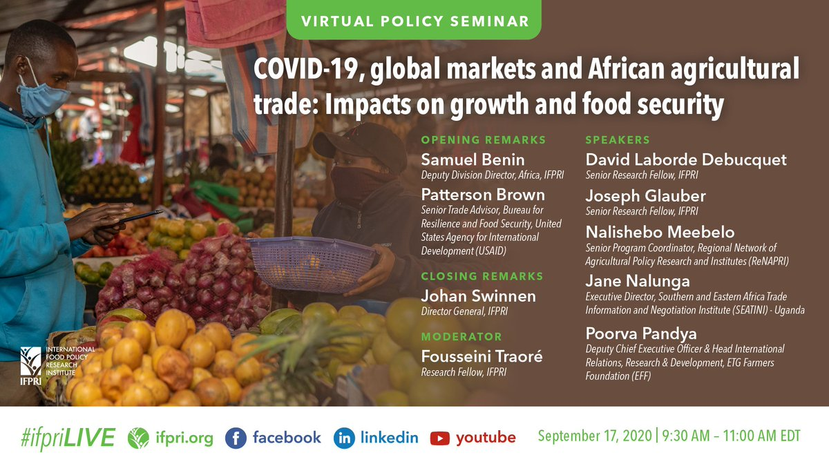 #TODAY @9:30am: #IFPRIPolicySeminar, on #COVID19, global markets & African #agriculturaltrade w/ @USAID  Reg & watch➡️https://t.co/yao1YMGgfy  ➡️https://t.co/BAdQLgCass ➡️https://t.co/7qXVzxZ5ns ➡️https://t.co/ljxdyAJA4t #Africa #foodsystems #supplychains #sdgs @SEATINIUGANDA https://t.co/QDEfbfvOBD