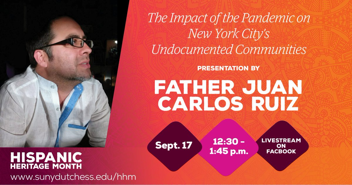 "Don't miss today's Hispanic Heritage Month event, ""The Impact of the Pandemic on New York's Undocumented Communities,"" live on Facebook at 12:30 p.m. https://t.co/h9XlxbimXU"
