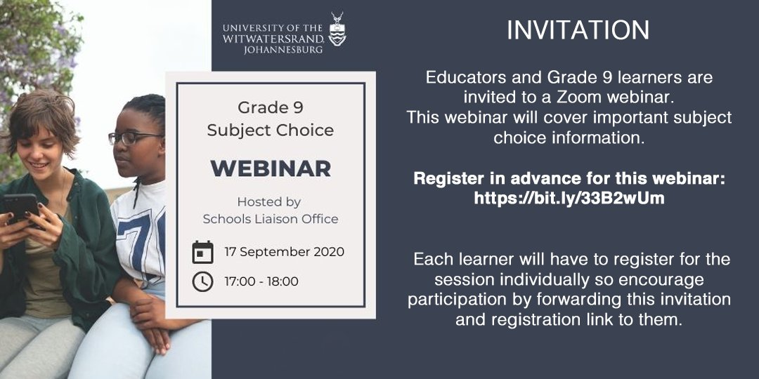 🎒📚WEBINAR: Educators and Grade 9 learners are invited to a Zoom webinar. This webinar will cover important subject choice information. Join the discussion today from 5pm - 6pm. Register here: https://t.co/tBSQG2IIkz https://t.co/HoUUUhVrar