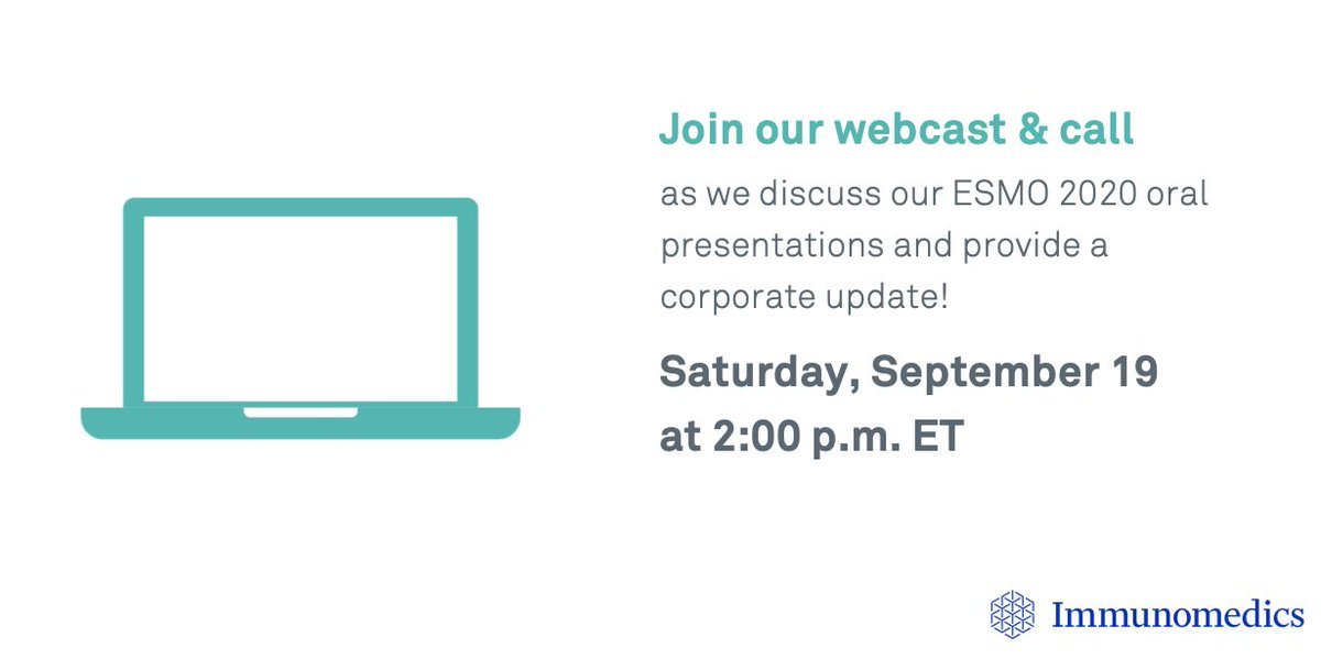 Save the date! We will host a webcast and conference call this Saturday, September 19, at 2:00 p.m. ET to discuss the results from the #ESMO20 oral presentations in #mTNBC, metastatic #UrothelialCancer and #BrainCancer. Click here for details: https://t.co/I6CrRm168Y https://t.co/SHDvs0Gm2c
