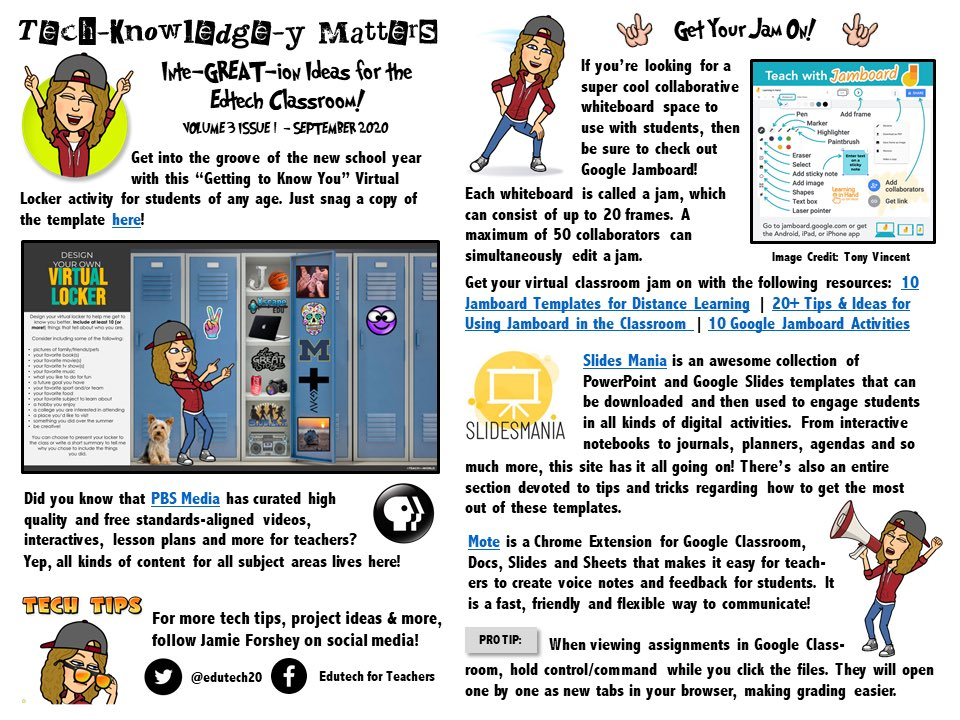 ➡️ Be sure to tune into the latest version of my Tech-Knowledge-y Rocks newsletter featuring:   😎 Virtual Locker Activity 🎥 PBS Learning Media  📓 Slides + Jamboard Templates 🖥 Mote Chrome Extension 🔆 Google Classroom Pro Tip  🔗 https://t.co/N2gczguRTK 🔗 #edtech #gsuiteedu https://t.co/0bIV5vDpCz