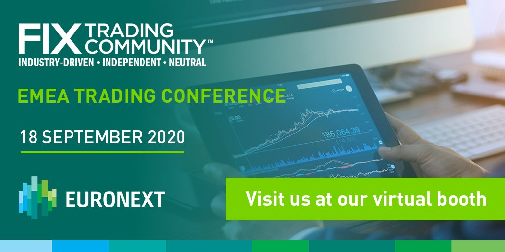 Only one day left before #FIXEMEA2020. Despite #Covid19, the last few months have been busy for Euronext with several product launches that our teams are eager to present during this virtual conference. See you online at our virtual booth!  https://t.co/hox2gNp0VP https://t.co/v1bwqg9MY8