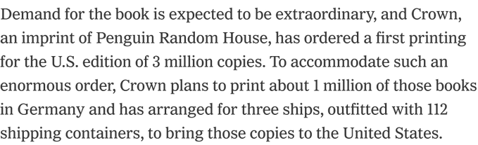 I'm a bit confused why Crown needs 3 boats to carry 112 containers of Obama biographies over. A decent-sized container ship is well over 10,000 containers. It seems like a weird way to big up (very impressive) circulation figures. THREE BOATS! https://t.co/wNAvKHuhM4