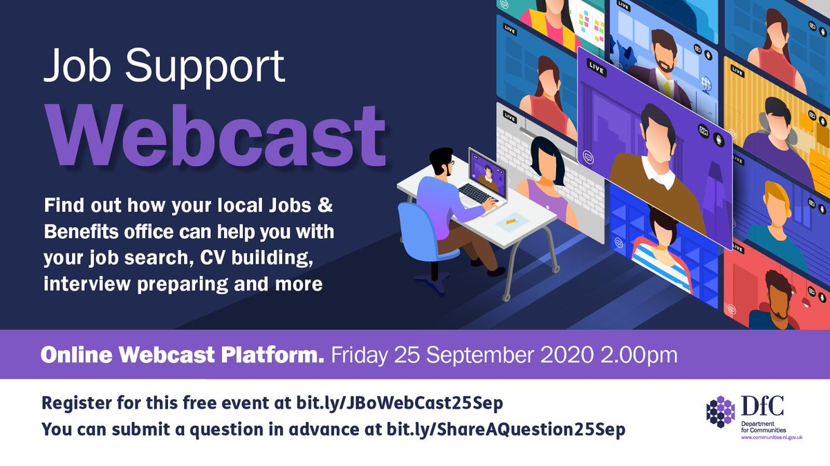 Find out how your local Jobs & Benefits office can help you with your job search, CV building, interview preparation and more. To register for free go to bit.ly/JBoWebCast25Sep You can also ask a question in advance at bit.ly/ShareAQuestion…