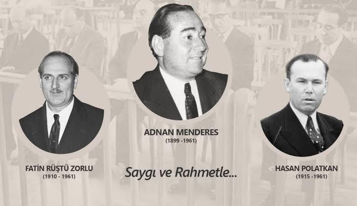 #17Eylül 1961'de millet iradesi hiçe sayılarak idam edilen #AdnanMenderes, Fatin Rüştü Zorlu ve Hasan Polatkan' ı şehadetlerinin yıl dönümünde rahmetle anıyorum. https://t.co/lflWj0QKRQ