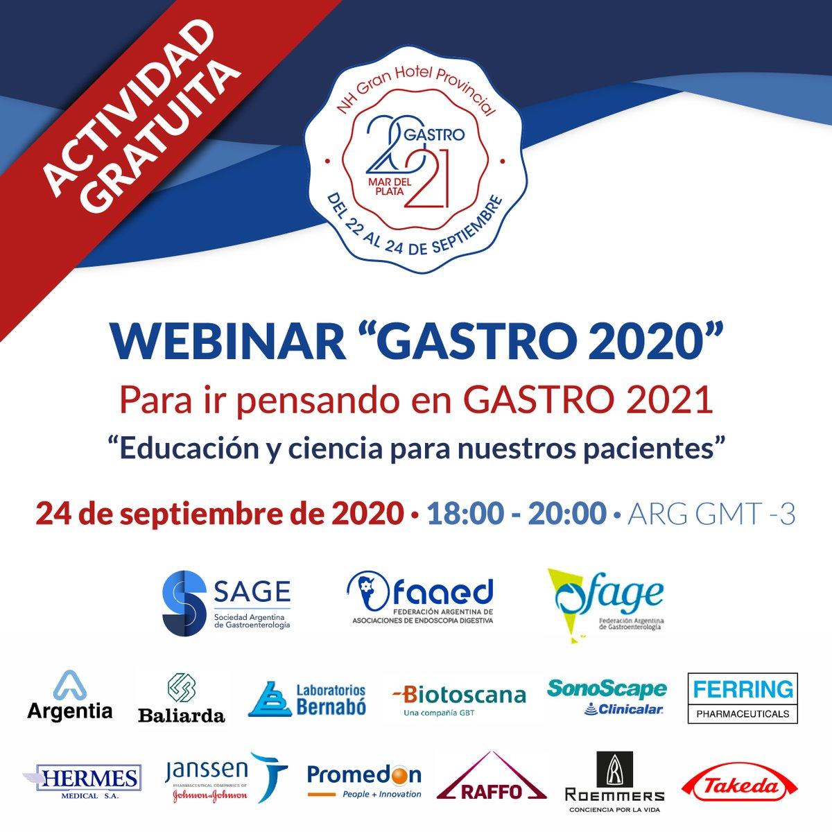 Webinar ¨GASTRO¨ 2020: Para ir pensando en Gastro 2021  🗓 24/9/2020  🕕18 hs. 🇦🇷  ☑ Gratis por el canal de Youtube de Gastro2021 ( en vivo)  https://t.co/imHiRflpdl . . #Fage #TuFederaciónMásCerca #Gastroenterología #Medicina #Argentina #Gastroenterology #Medicine #SAGE #FAAED https://t.co/5i7bT64G4Y