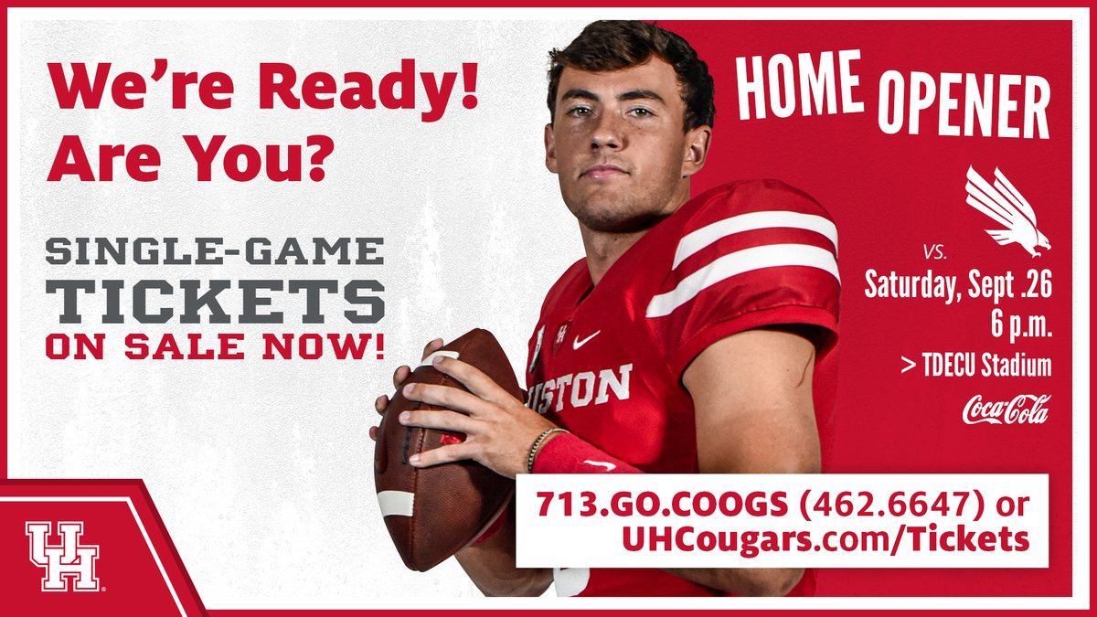 Limited tickets available for next week's @UHCougarFB home opener vs. North Texas!   😷Masks will be required. 🎟️ https://t.co/DQV88xzZYU  #GoCoogs https://t.co/ICYU8hJLHl
