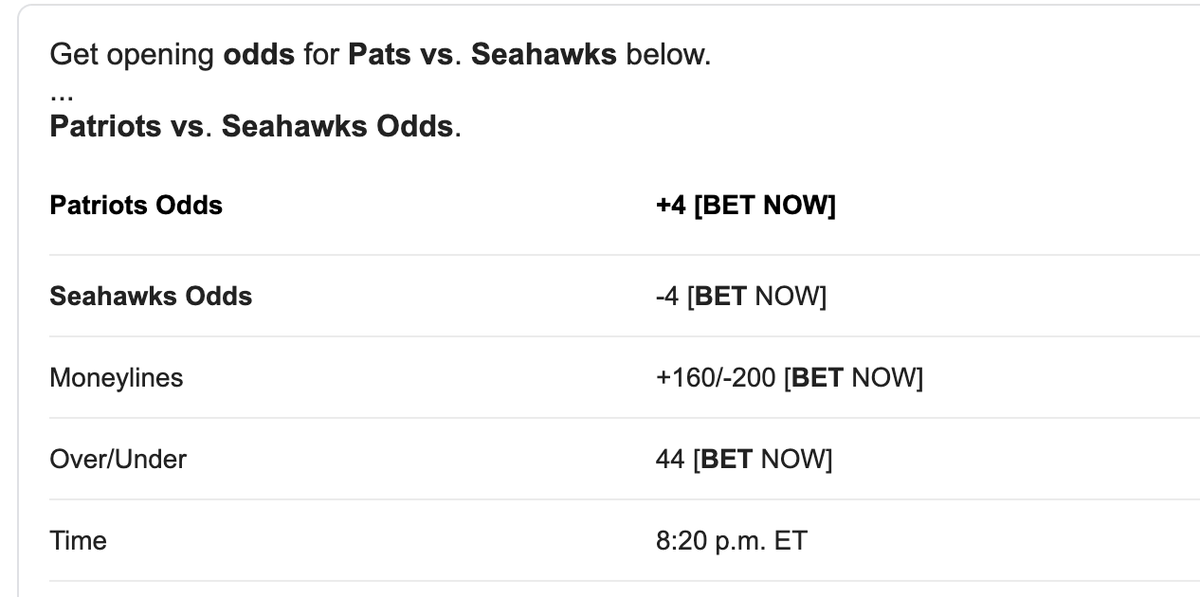 The current line on Seattle v #NewEngland is 4 points...  #Seattle will win by more than 4 points. #NFLSundayNight https://t.co/5S3tcxeuvb