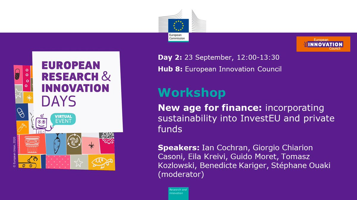 Meet the #EUeic at the #RiDaysEU discussion about the crucial role of #sustainablefinance and #InvesEU in attaining the Paris Agreement and contributing to the #EUGreenDeal ♻️  ✍🏻Register for the workshop on 22 September from 12:00 to 13:30 CET👉🏻 https://t.co/iTLUu8yLqc https://t.co/Lh68eSAsmU