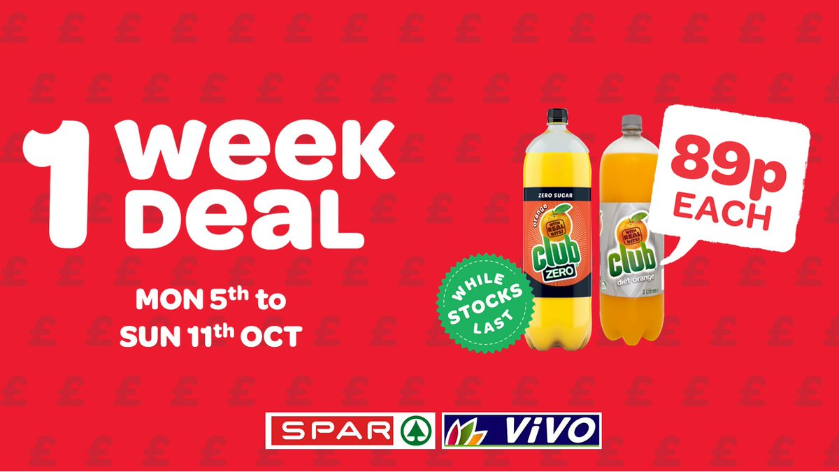Quench your thirst with this 1 Week Deal   Club Zero or Diet (2 Litre), now Less than ½ price at just 89p  This is a 1 week only deal so get yours before they fizzle out!  Only this week at SPAR! https://t.co/2IaNzMFwaC