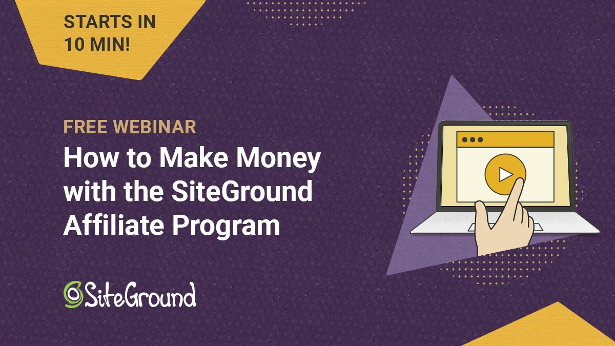We're going live for a #webinar on 'How to Make Money with the SiteGround Affiliate Program' in 10 minutes! It's not too late to register and join us. 👉 https://t.co/tI3mPmmjTT  #freewebinar #affiliatemarketing #affiliateprogram #affiliates #affiliate https://t.co/MD0GAA3IKu