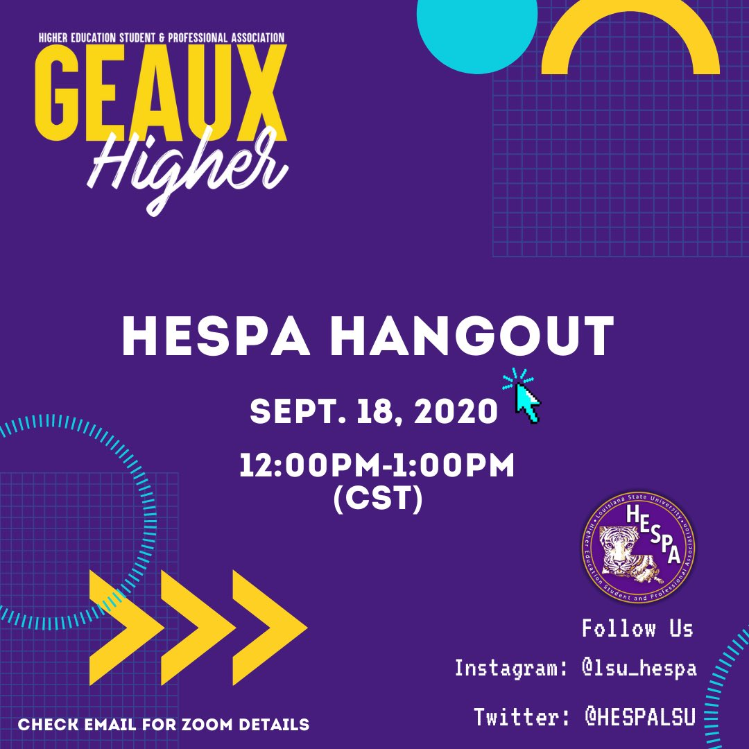 Need a mid-day break? LSU HESPA has you covered. Hangout with our team as we kick back with trivia, hot topics/conversation, and development opportunities. Oh, don't forget a chance to win FREE giveaways (while supplies last)  #lsutigers #lsu #geauxtigers #geauxhigher #highered https://t.co/D7YlHPHVmR