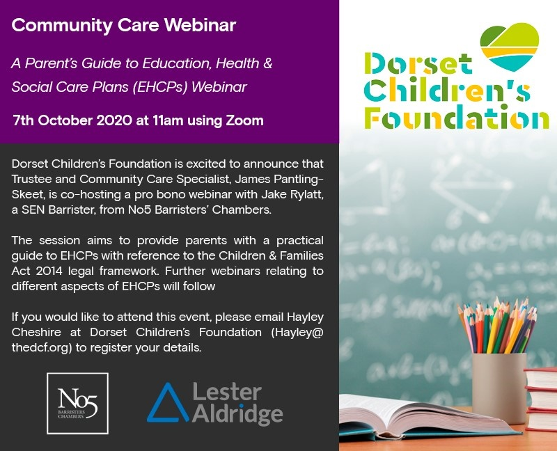 Our #CommunityCare expert James Pantling-Skeet will feature on @The_DCF #webinar along with Jake Rylatt from @No5Chambers on the 7 October. If you would like to make a donation, please click here: https://t.co/qSKWyLp9qQ  #health #charity #socialcare #education #children #SEND https://t.co/3g0tpzEzxq