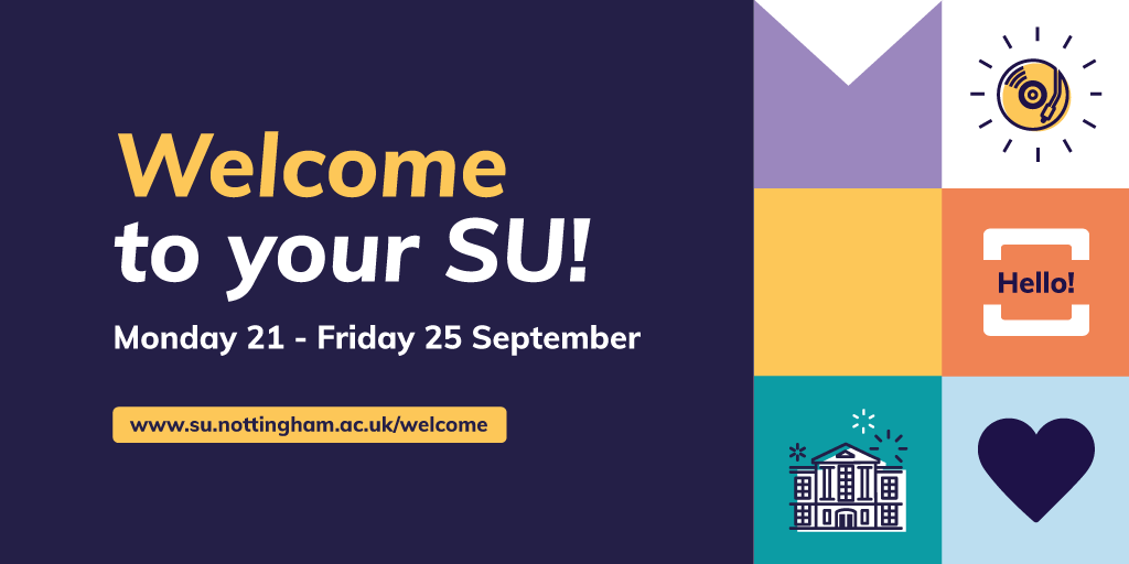 🎉Today marks the start of Welcome Week 🎉  There's loads of events and activities you can get involved with, check them out here: https://t.co/77696Yabbs   Don't forget to bring a mask, pay attention to the safety signs and keep your distance ❗️ https://t.co/HNAuuMyBF1