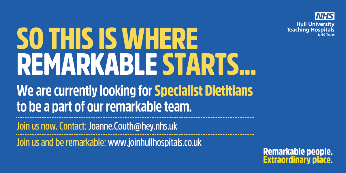 SO THIS IS WHERE REMARKABLE STARTS...  We are currently looking for Specialist Dietitians to be part of our remarkable team.  Join us now. Contact: Joanne.Couth@hey.nhs.uk Join us and be remarkable: https://t.co/9hkhb5IQwN https://t.co/WI8mvY5QBS