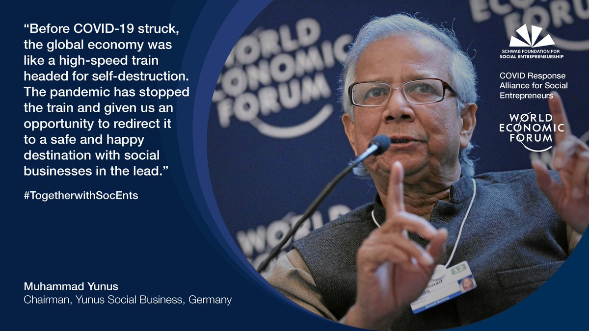 Before COVID-19 struck, the global economy was like a high-speed train headed for self-destruction. The pandemic has stopped the train and given us an opportunity to redirect it to a safe and happy destination #TogetherwithSocEnts @wef @schwabfound @Alliance4Socent https://t.co/Y8z0xMYyBH