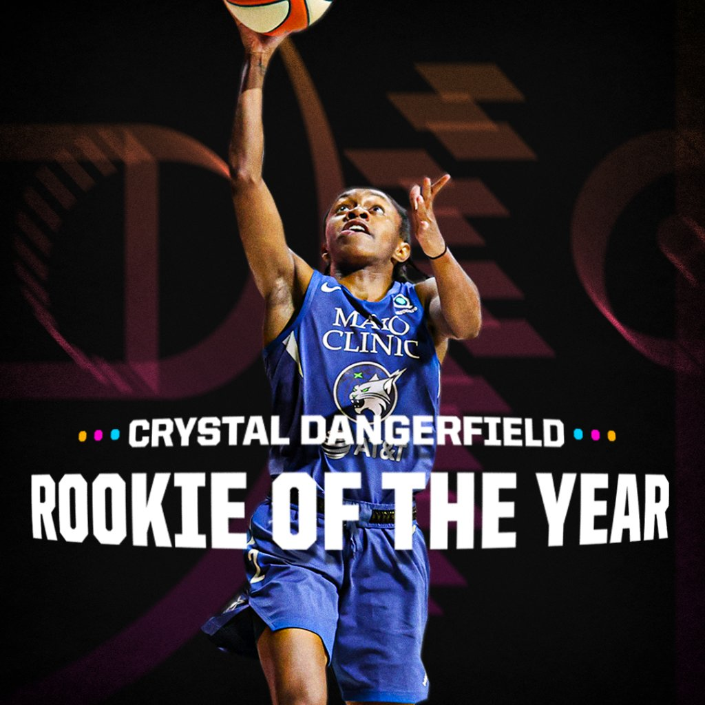 .@crystald2_ got buckets in the Wubble and is now your 2020 Rookie of the Year! 👏  Dangerfield is the first player not selected in the first round of the @WNBA Draft to win the award. https://t.co/N3NMdf7UHq