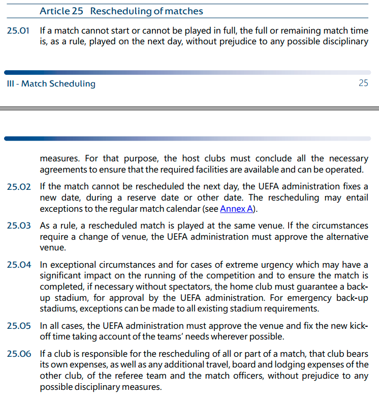 1. The Riga-Tre Fiore game was abandoned due to stadium damage caused by high winds.   The relevant regulations are attached. Riga say they're talking to UEFA to get approval to finish the game tomorrow. The important thing is whether UEFA agree to the rescheduling. https://t.co/GS28OdfpLM