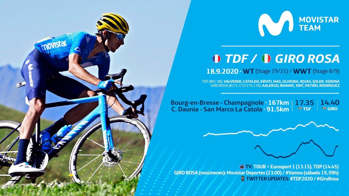 🇫🇷🛣️➕🇮🇹🧗♀️ Doble compromiso para Movistar Team este viernes con la antepenúltima del #TDF2020 -día para las fugas, o quizás un sprint, en Champagnole- y la penúltima del #GiroRosa, un brutal final (2,4 km al ¡13%!) en San Marco la Catola. https://t.co/st99JxkWOf