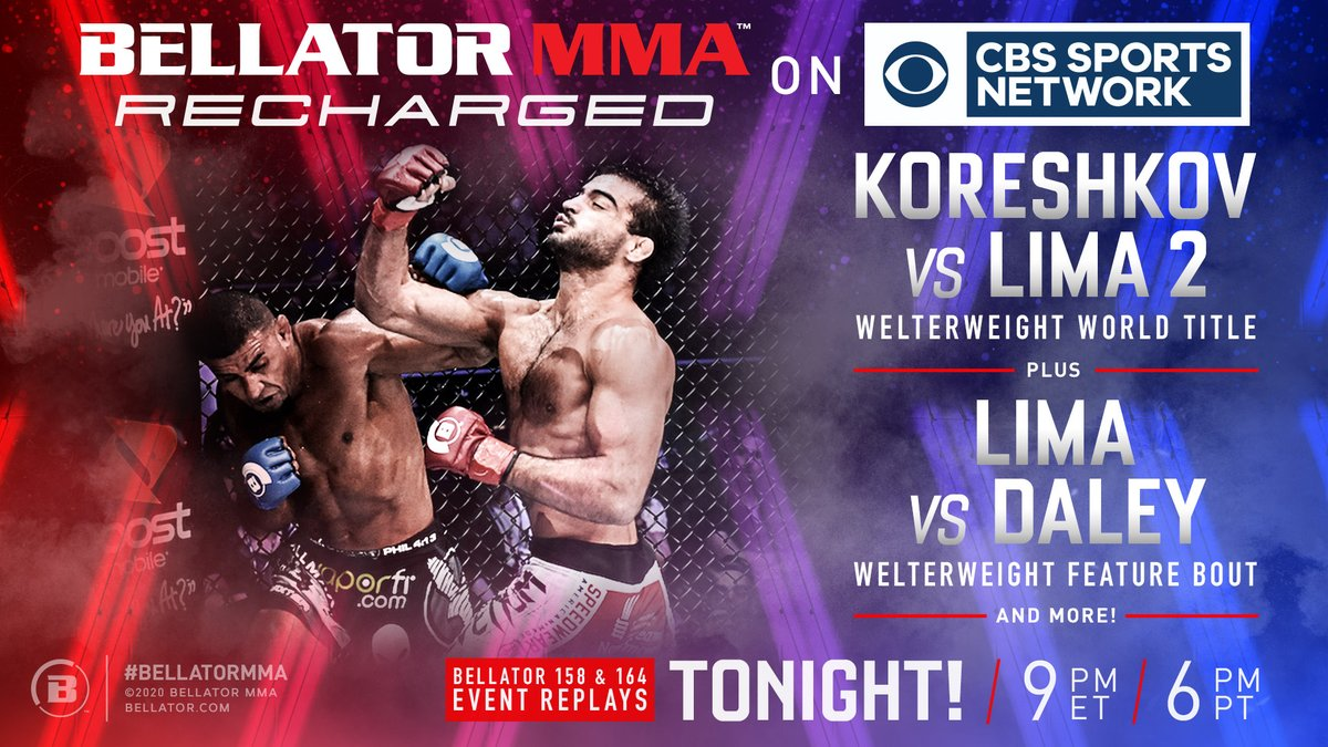 Bellator returns to @CBSSportsNet with another episode of 🔌 #BellatorRecharged ⚡️  Tune in at 9/8c to see @PhenomLima and @SpartanKoresh in action ➕ so much more! https://t.co/Ez1NKfBPJv