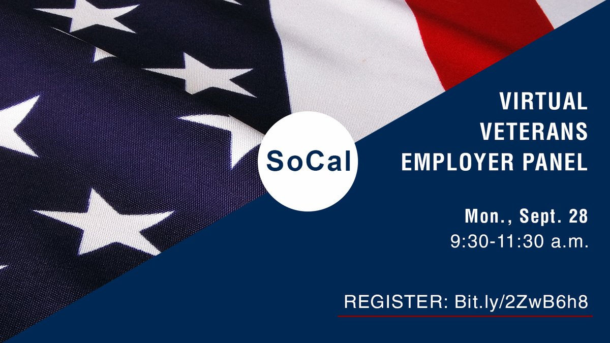 Please join the monthly Virtual Veterans' Employer Panel via Zoom. Meet employers & learn about career opportunities!  Mon., Sept. 28, 9:30-11:30 a.m.  Register now: https://t.co/vdwwkZUpBS  @G4S@CoreCivic@sdworkforce@ManpowerSoCal@SleepData @NavyRegionSW@AgilityFuel@UCRiverside https://t.co/EV3nR3SSrN