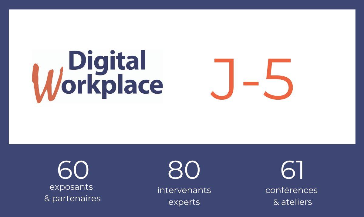 ⏳ Le salon #DigitalWorkplace ouvre ses portes dans 5 jours !  Pour avoir votre badge #DigitalWorkplace, inscrivez-vous directement en ligne, c'est gratuit ! ➡️https://t.co/CYan58RBZg  - #RH #DRH #Dircom #DSI #communication #evenementsur #evenementfiable #safeevent https://t.co/yDI3xDgHuU