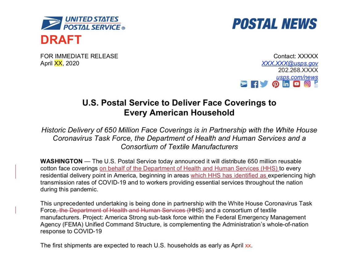 The White House blocked this USPS plan to deliver five face masks to every household. Pure evil.