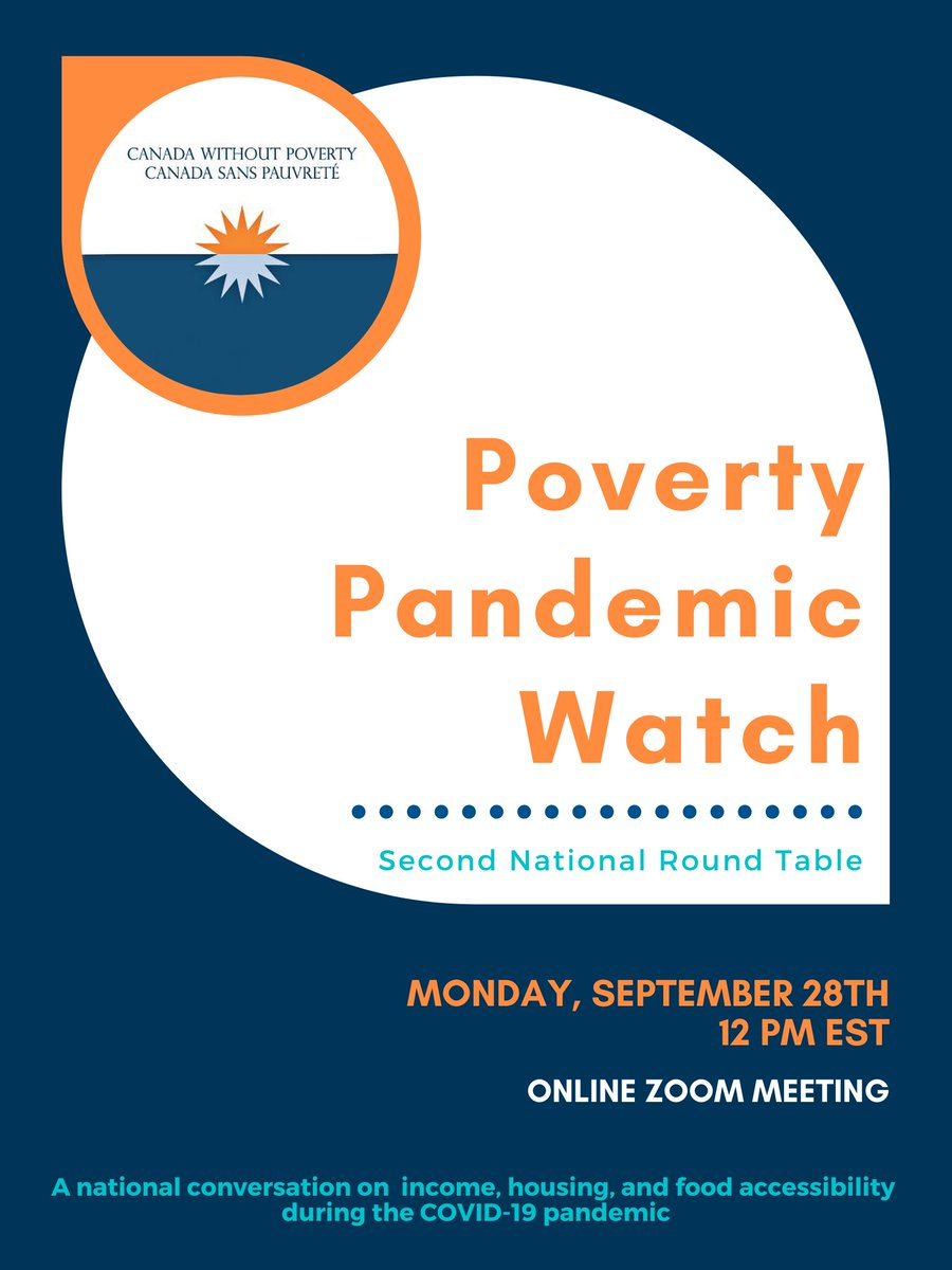 Mark your calendars! 🗓️✏️ On September 28 @12PM EST, CWP is hosting a 2nd National Round Table on poverty during the #pandemic. Join Zoom Meeting us02web.zoom.us/j/89516497871 #povertypandemic #housing #foodsecurity #incomesecurity #CERB