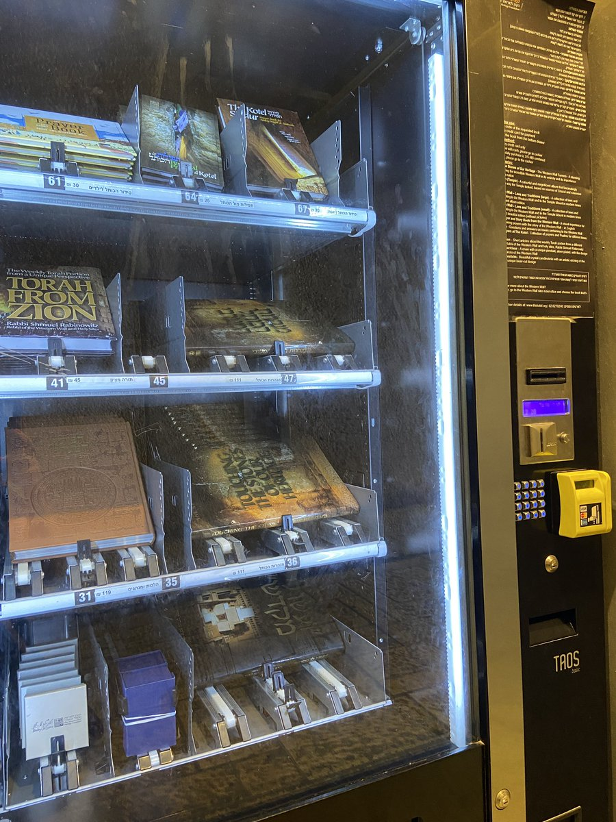 Prayer book vending machine at #Jerusalem's Western Wall today.... never seen anything like this before..... https://t.co/41YIfUWSB8