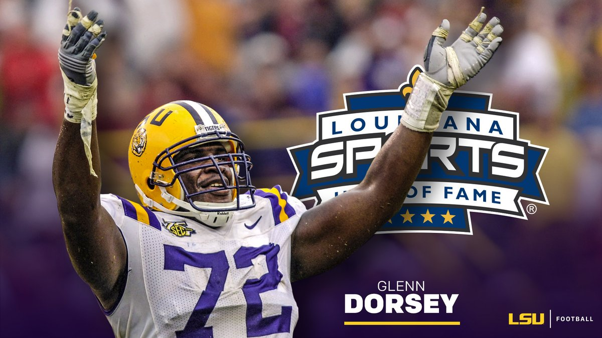 Glenn Dorsey, the most decorated defensive player in LSU history, will be inducted into the Louisiana Sports Hall of Fame!  🔗 https://t.co/Q65tjRAixp https://t.co/EaiWHUfitz