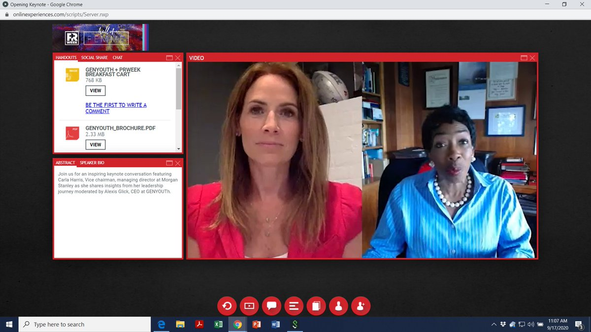 Great start to an amazing virtual #PRWeekHallofFemme event with GENYOUth CEO Alexis Glick interviewing Morgan Stanley's inspiring vice chairman MD Carla Harris @PRWeekUS Log in here https://t.co/nH9ORF4VVj https://t.co/XEl32l47xg
