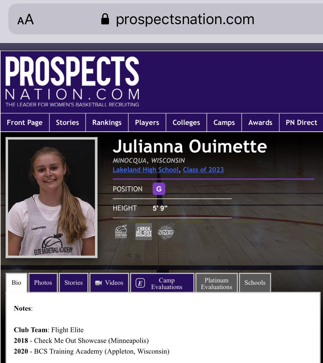 Brandon Clay College Recruiting Profile: #BClayRecruiting x @bclayrecruiting  '23 G Julianna Ouimette (WI) has our staff's full attention. Smooth backcourt option.  Creighton, Davidson & Tulsa are tracking her progress.  GET YOUR OWN RECRUITING PROFILE: https://t.co/tYNfZLbdO2 https://t.co/awjwhwY0mc