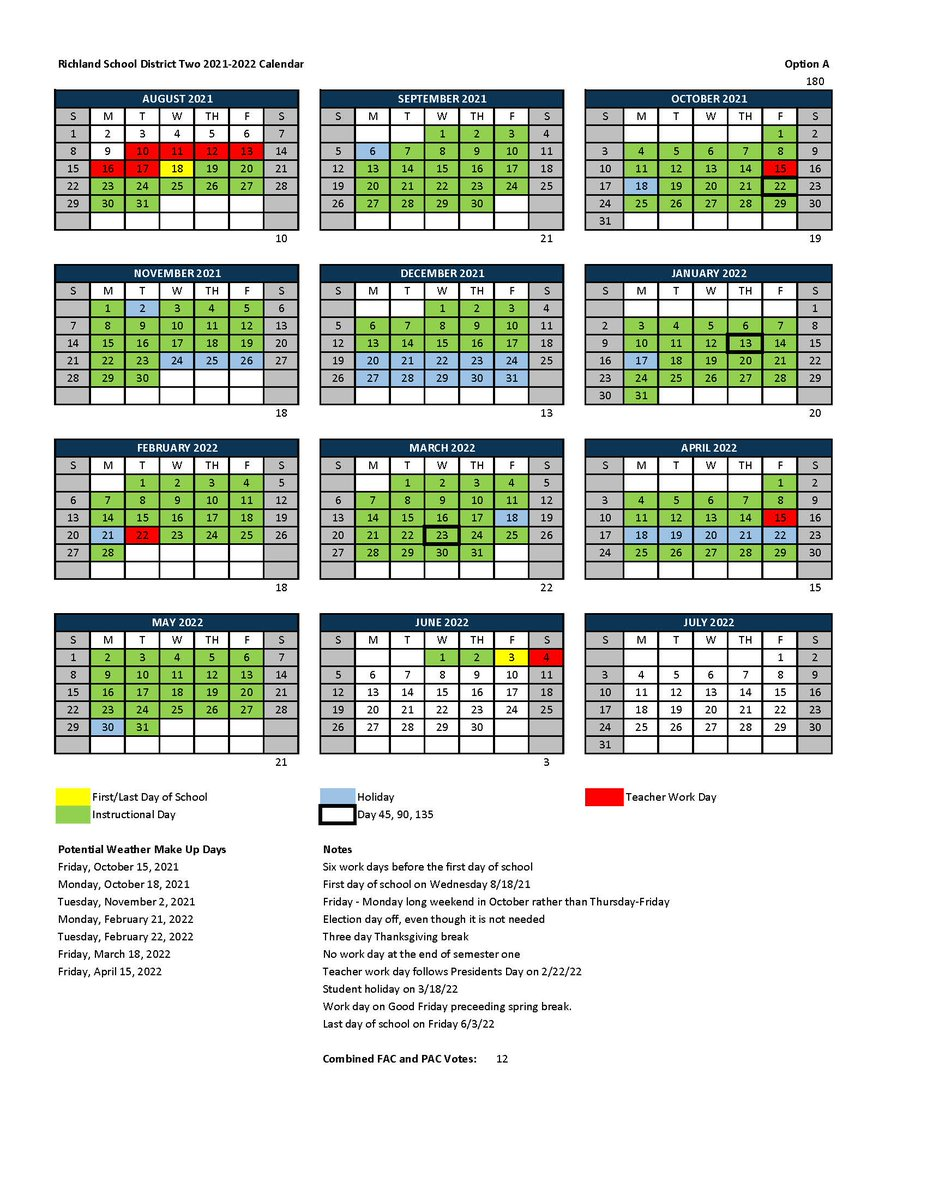 Richland 2 School Calendar 2021-2022 Photos