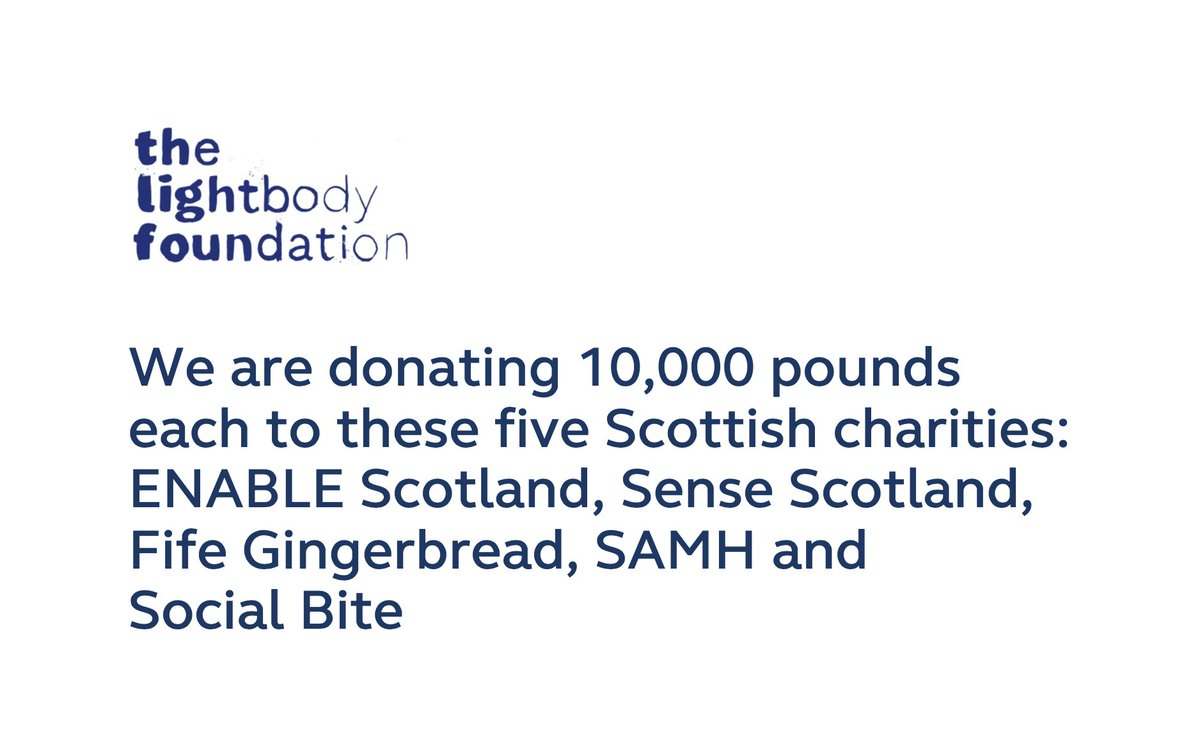 We set up to help charities in Northern Ireland but I spent 14 years in Scotland & it gave me so much. Massive thanks & love to @edibow and Eleanor bowman for their guidance choosing these amazing charities. Huge thanks to all 5 charities for the incredible work they all do.