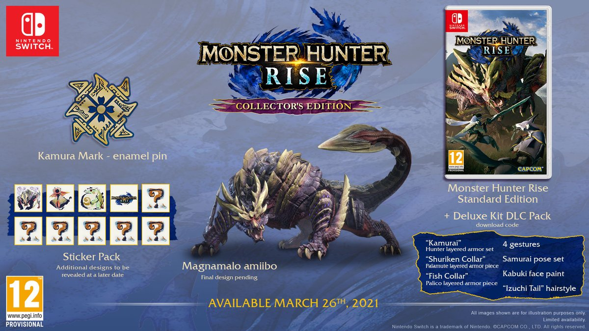 """A Collector's Edition of #MonsterHunter Rise will launch alongside the game on 26/03/2021. It includes a physical copy of the game, Deluxe Kit DLC Pack download code, a Magnamalo amiibo, a """"Kamura Mark"""" pin badge and a sticker pack. #MHRise https://t.co/mAWHJImnJ5"""
