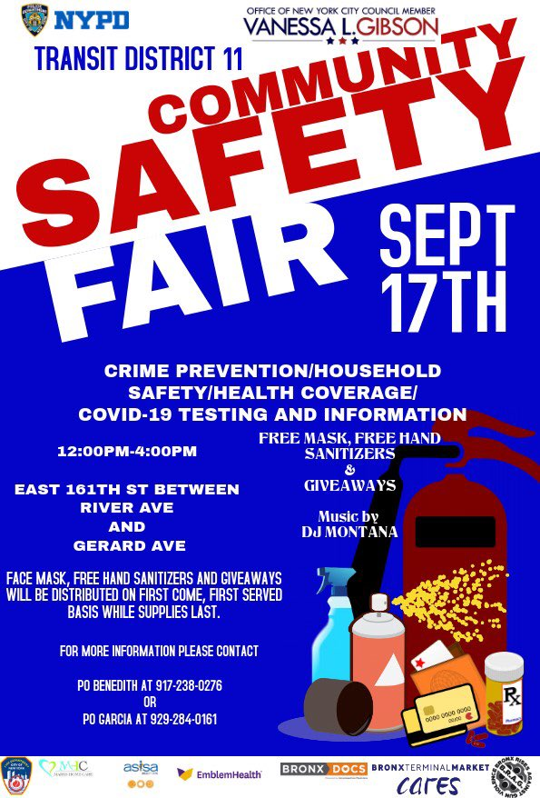 From Noon-4pm today: Transit District 11 and NYC Council member @Vanessalgibson are hosting a crime prevention/health and safety fair at 161st St & River Ave in the Bronx- Please stop by! https://t.co/zwT5dSOkDl